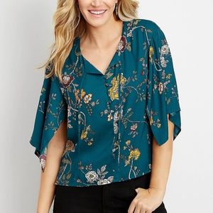 Maurices Large floral kimono sleeve blouse